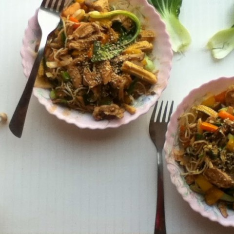 Photo of Vegetable and Chicken Stir Fry with Roasted Shimeji Mushrooms by Shirin Mehrotra at BetterButter