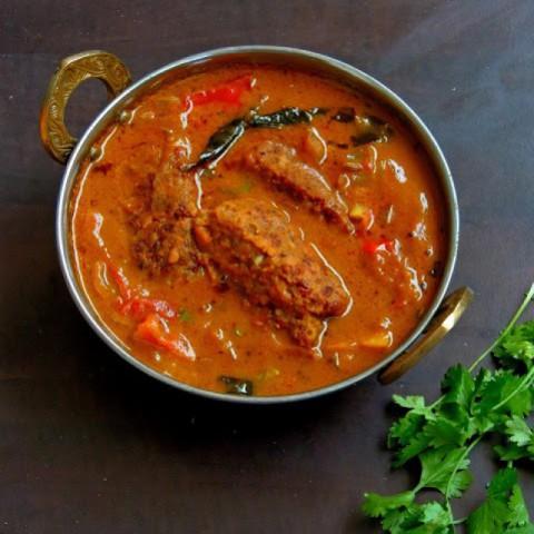 How to make Vegetarian Fish Gravy (Chettinad Saiva Meen Kuzhambu)