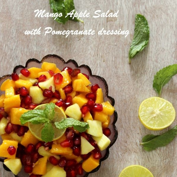 Photo of Mango Apple salad with Pomegranate dressing by Priya Shiva at BetterButter