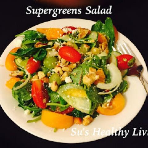 Photo of Supergreen Salad with Raspberry Vinaigrette by Suchitra Kamath at BetterButter