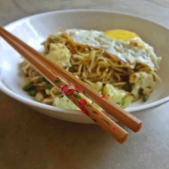 Photo of Spicy Potato Noodles Topped With A Sunny Side Up by Raina Talukder at BetterButter