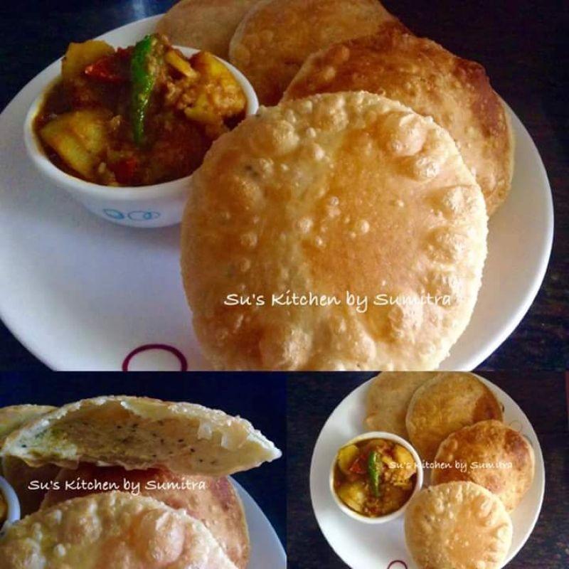 Photo of Hinger Kochuri ( Asafoetida  Kachuri) and Aloor Tarkari (Potato Gravy) by Sumitra Chowdhury at BetterButter