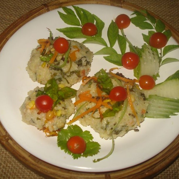 How to make Dalia upma flavored steamed wada