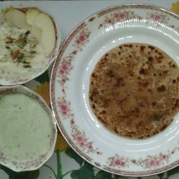 Photo of Moong dal paratha with coriander curd and sabudana kheer by Ella Grover at BetterButter