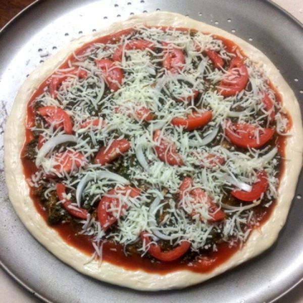 Photo of Spinach, Tomato and Onion Pizza with homemade dough by Madhavi Telange at BetterButter