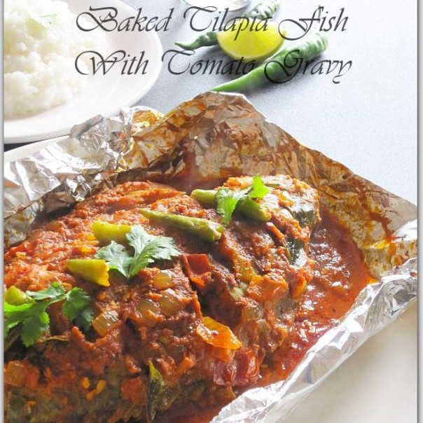 Photo of Baked Tilapia Fish With Tomato Gravy/ Meen Pollichathu. by Rumana Rawat at BetterButter
