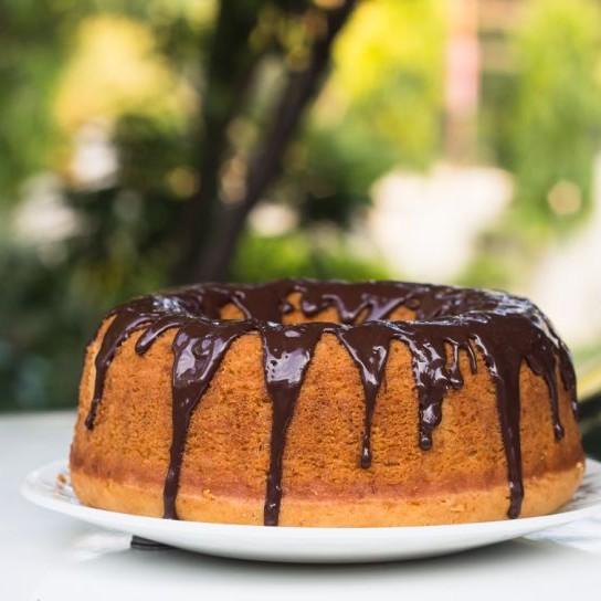 How to make Eggless Vanilla Bundt Cake with Chocolate Glaze