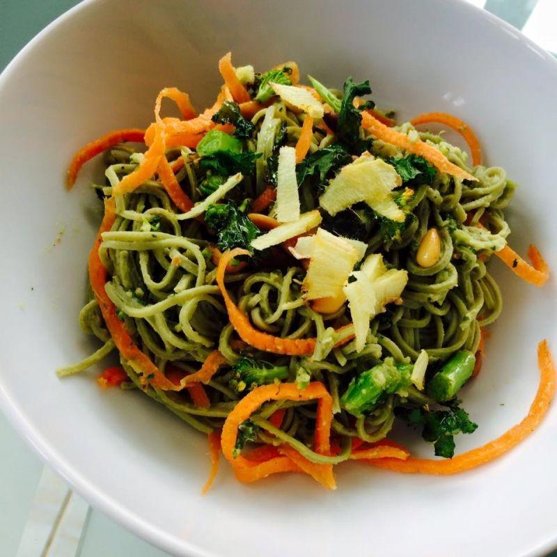 Photo of Spaghetti with Pesto of Avocado, Pine Nut & Roasted Greens by Guna Organics at BetterButter