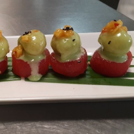 Photo of Wasabi Mushroom on Compressed Watermelon by Nishant Choubey at BetterButter