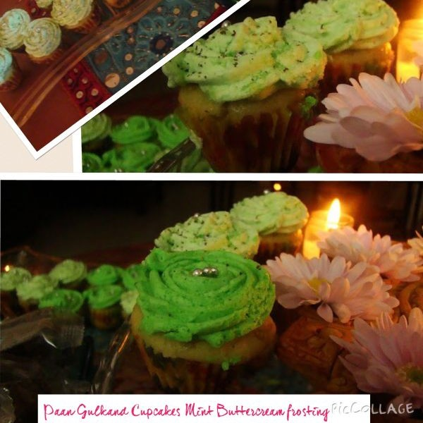 Photo of Paan Gulakand Cupcakes with mint buttercream frosting by Shalini Digvijay at BetterButter