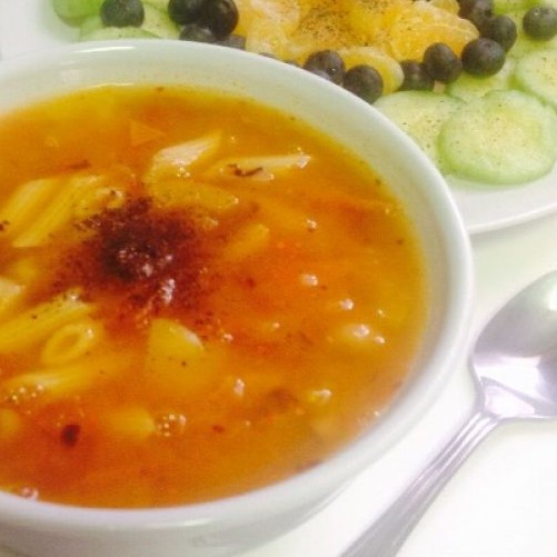 Photo of Vegetable Soup with black eyed beans and penne pasta - Zero Oil Soup by Sandhya Akula at BetterButter