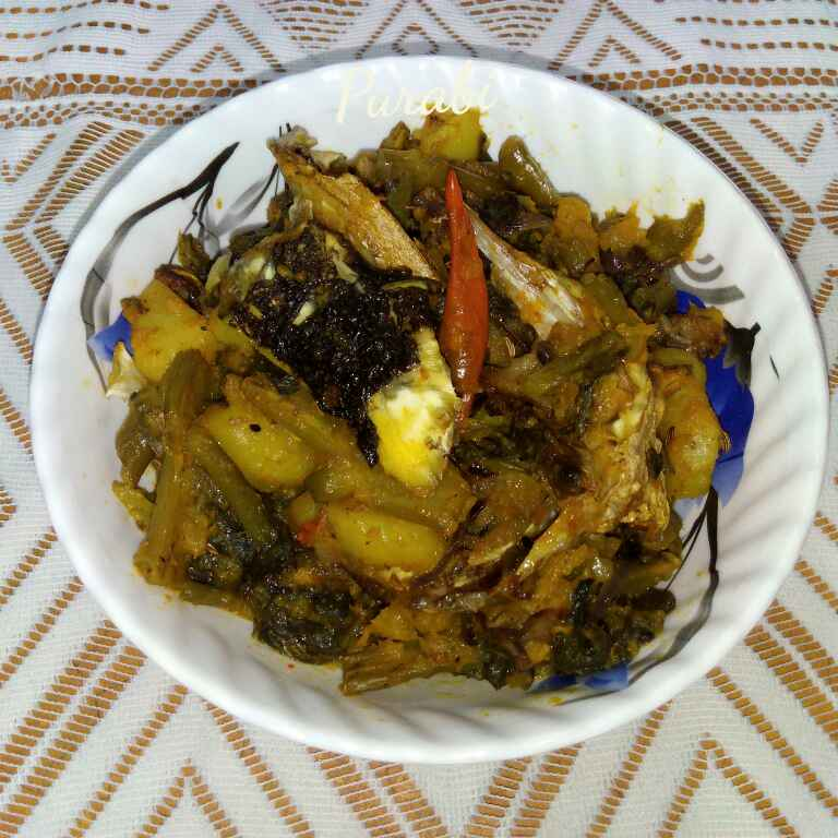 How to make Ceylon spinach with fish head