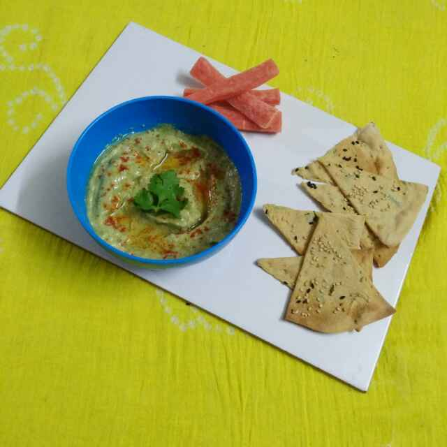 Photo of Baba ganoush with lavash by Purvi Modi at BetterButter