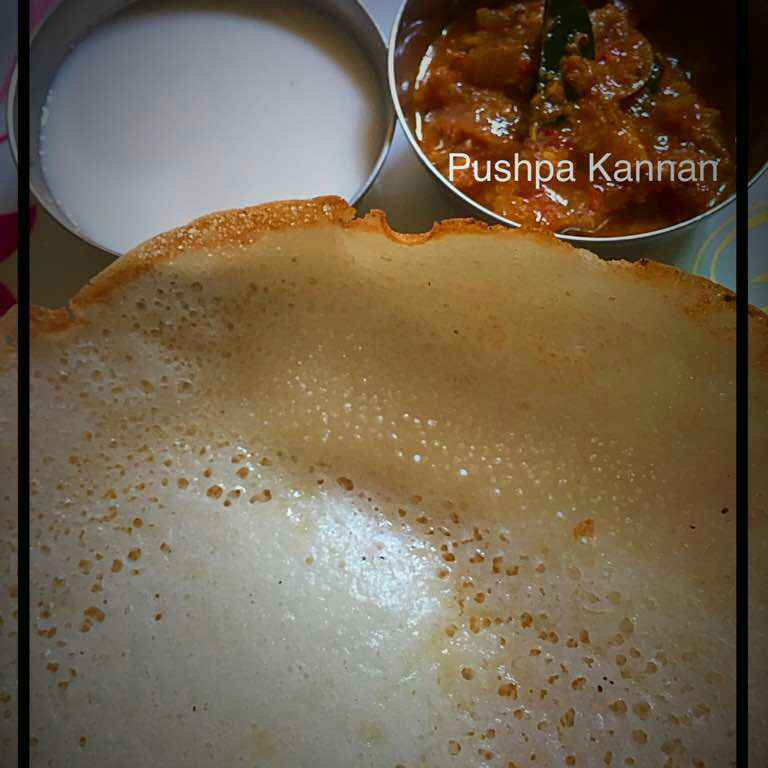 How to make Aapam with sweet coconut milk and onion chutney.