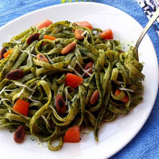 Photo of Fettucinne pasta in Indian Style Pesto sauce by Pv Iyer at BetterButter
