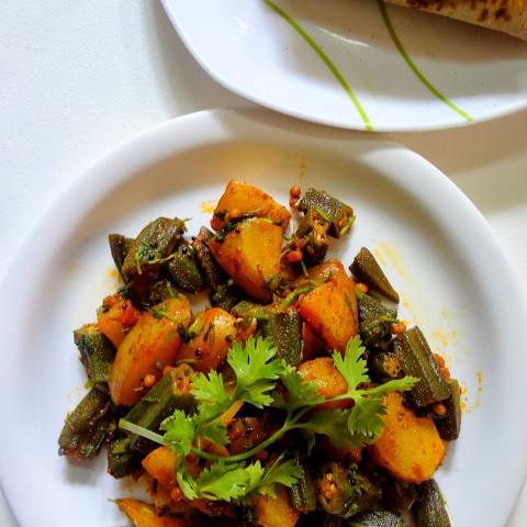 Photo of Aaloo Bhindi ..( Potatoes , okra stir fry ) by Radha Natarajan at BetterButter