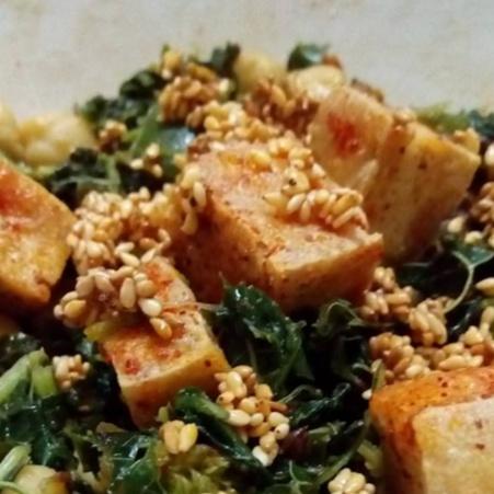 Photo of Korean Spinach Tofu  stir fry salad by Radha Natarajan at BetterButter