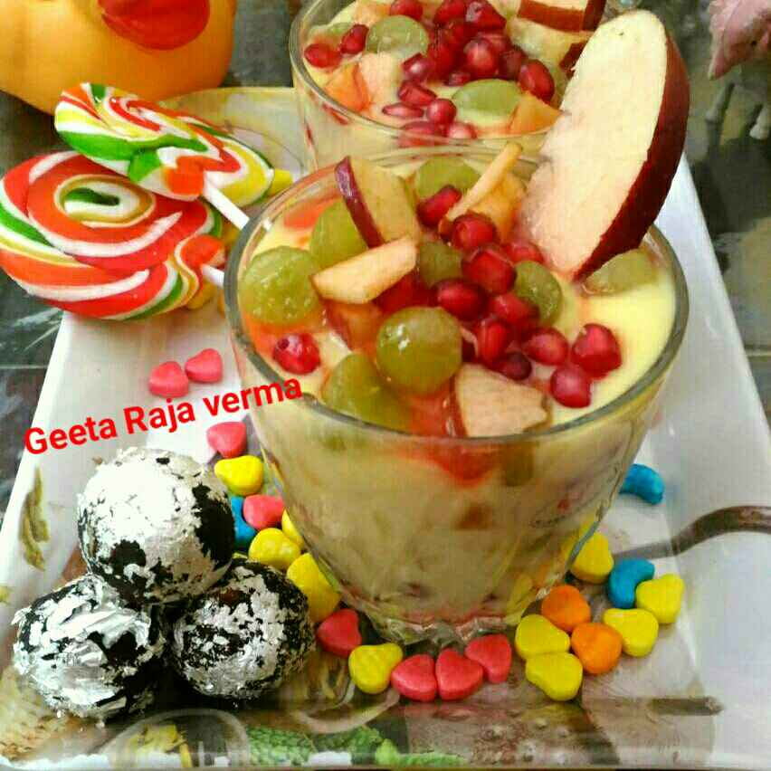 How to make Custard puding with fruit  bunch and nuts chocolate