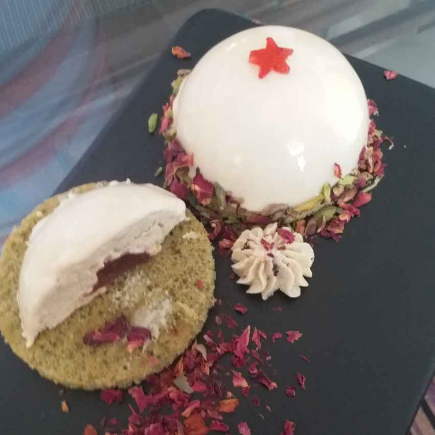 Photo of Thandai mousse with gulkand jelly n pistaschio sponge by Rajni Anand at BetterButter