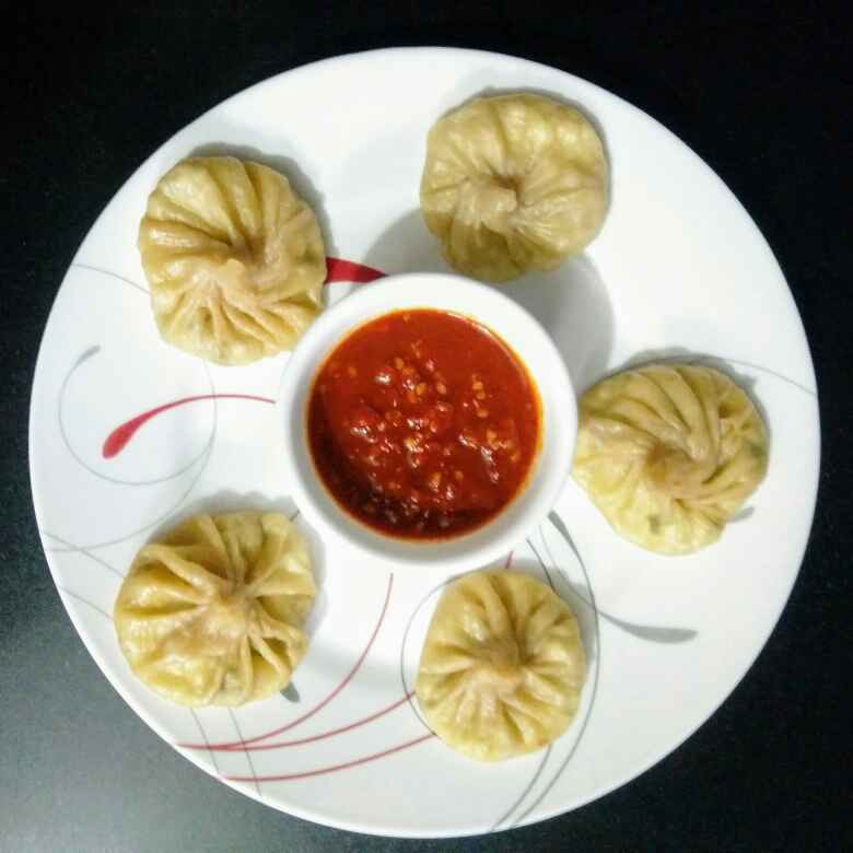 Photo of Paneer Momos with red chilli chutney by Reena Andavarapu at BetterButter