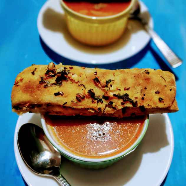 Photo of Tomato soup with Garlic bread sticks by Reena Andavarapu at BetterButter