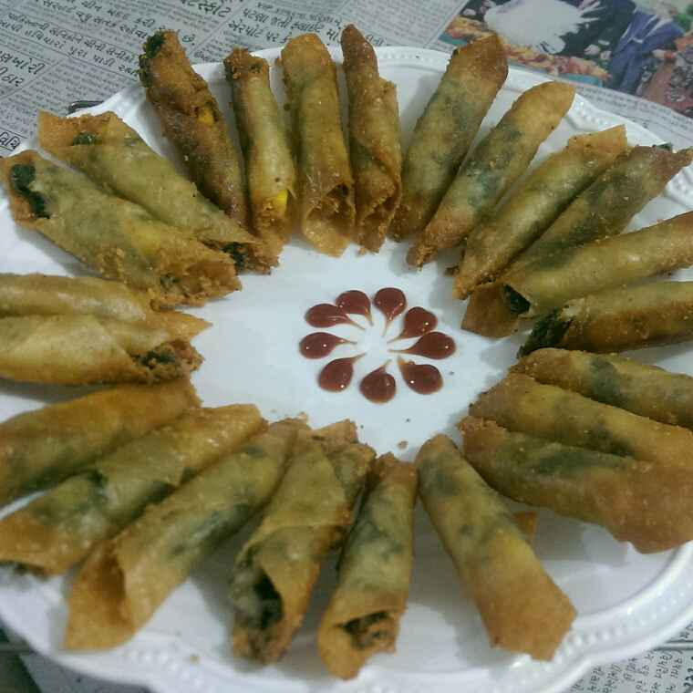 How to make Corn Cheese Spinach Cigars