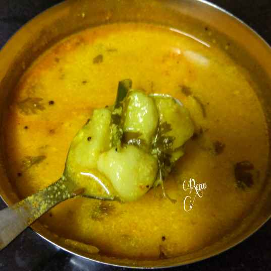 Photo of Potato curry cooked in yogurt gravy, UP style by Renu Chandratre at BetterButter