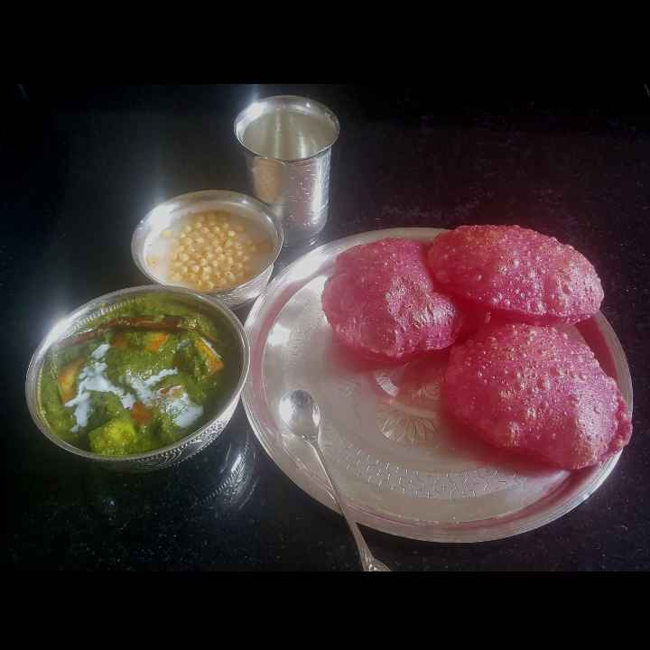 Photo of BEETROOT POORI AND PALAK PANEER by MOUMITA DAS at BetterButter