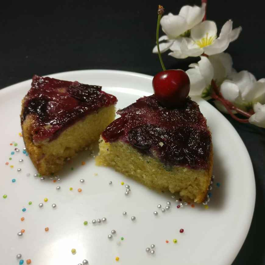 How to make UPSIDE CHERRY DOWN CAKE