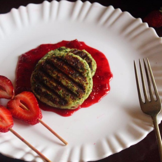 How to make PANEER STEAK WITH STRAWBERRY SAUCE