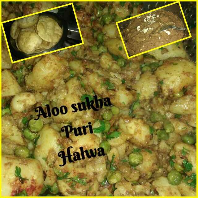 Photo of Sukha aalu puri aur halwa by Ruchi Srivastava at BetterButter