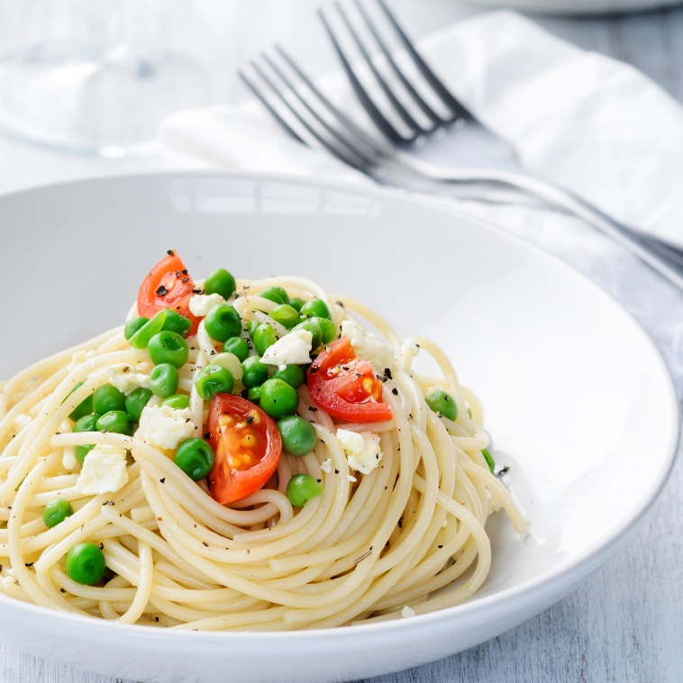 Photo of Spaghetti with lemon cream, feta and peas by Ruchira Hoon at BetterButter