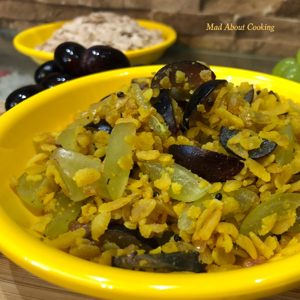 How to make Red Poha with Grapes – Healthy Breakfast Recipe