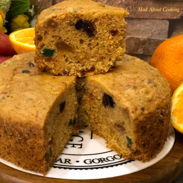 How to make Eggless Whole Wheat Orange Carrot Dry Fruit Cake – Pressure Cooker Cake Recipe
