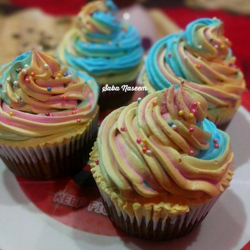 How to make Eggless Rainbow Chocolate Cupcakes