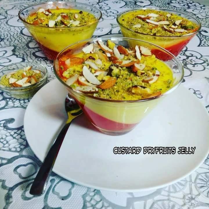 How to make Custard Dryfruits Jelly