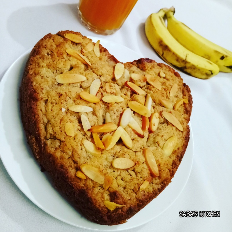 Photo of Eggless Whole Wheat Banana Cake (without oven) by Saba Rehman at BetterButter
