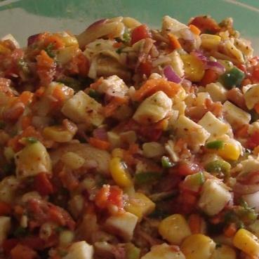 How to make smoked chicken and paneer pasta salad