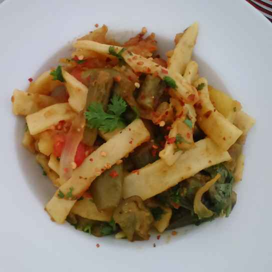 Photo of Homemade ribbon pasta with eggplant by Sabrina Yasmin at BetterButter