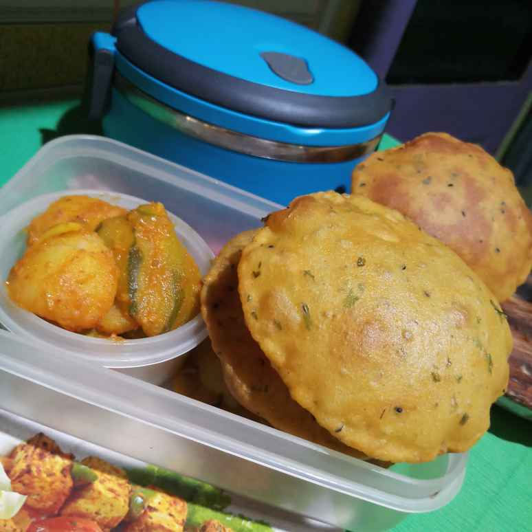 Photo of Yam masala poori & potato, pointed gourd curry by Sadhana Dey at BetterButter
