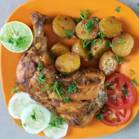 How to make Curry leaves Chicken tikka with roasted Baby Potatoes