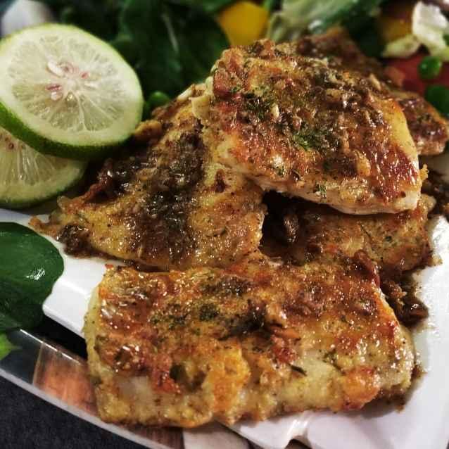 Photo of Pan fried fish with garlic-lemon-butter sauce & stir veggie by Sanchari Karmakar at BetterButter