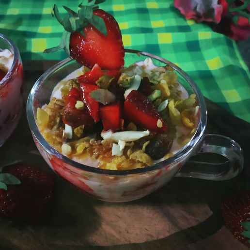 Photo of muesli-strawberry delight parfait. by Sanchari Karmakar at BetterButter