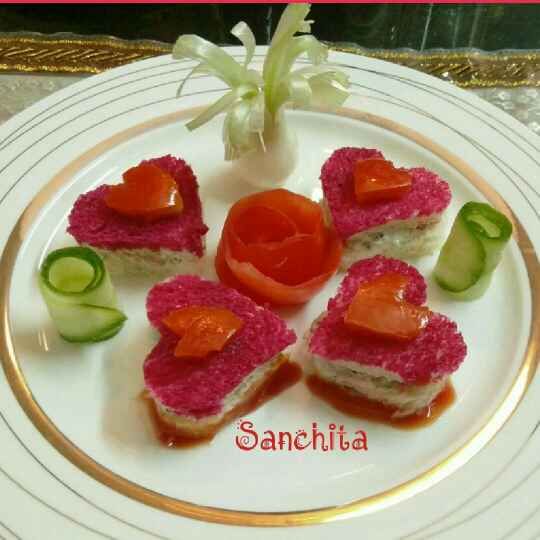 Photo of Creamy Cold Sandwich Hearts by Sanchita Agrawal Mittal at BetterButter