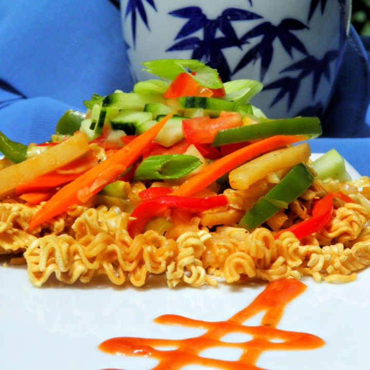 How to make Chinese Bhel with Baked Maggi noodles