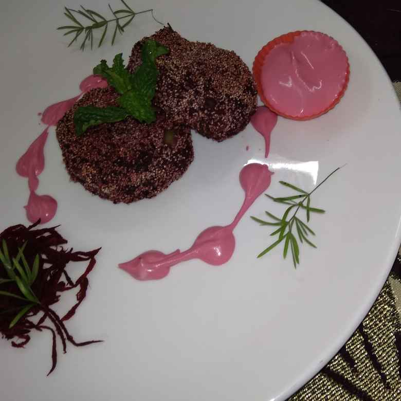 How to make Beetroot kabab with beetroot chesse dip