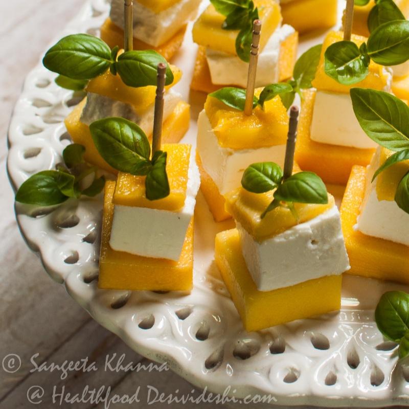 How to make Mango Feta Insalata on skewers