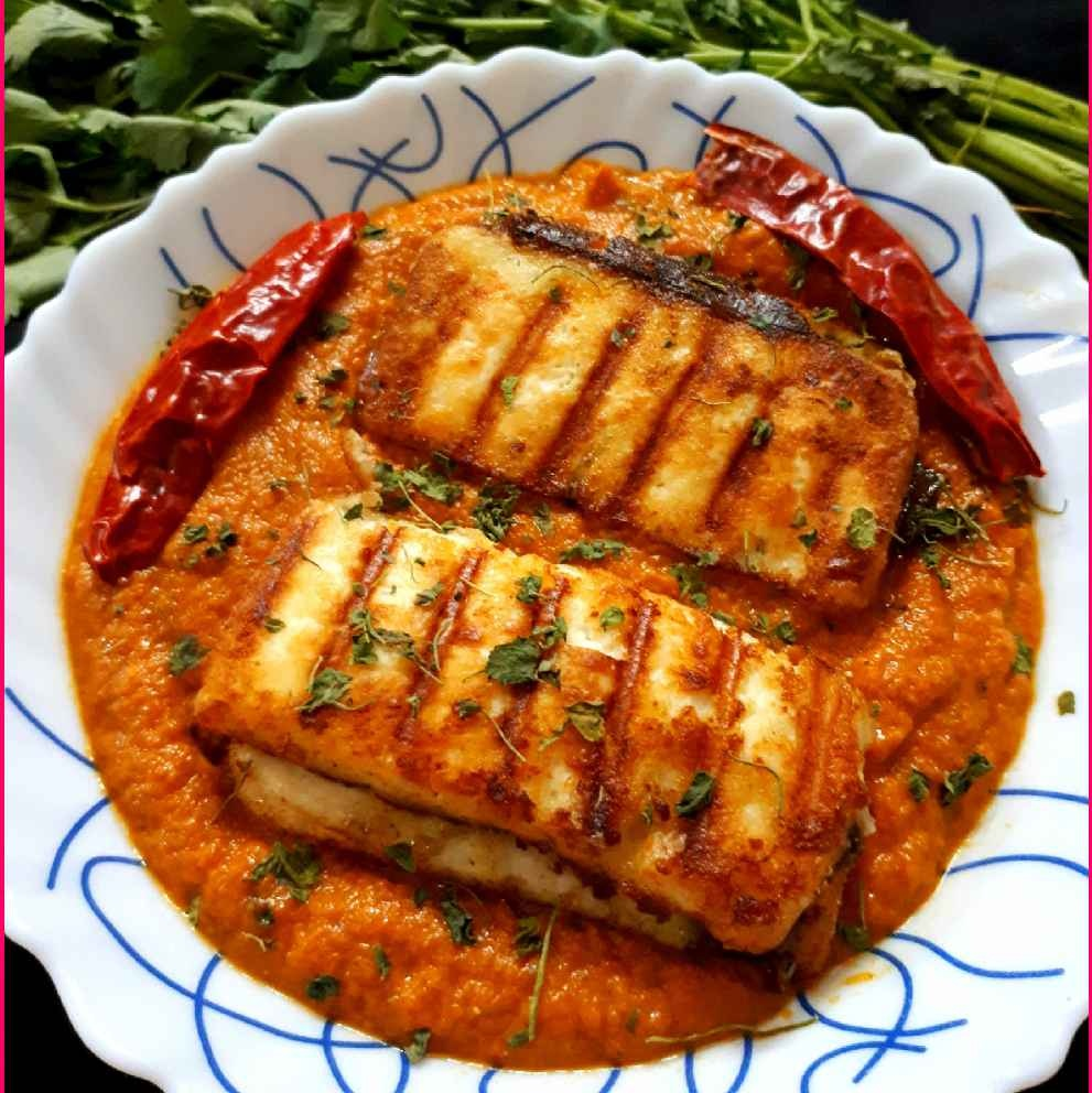 How to make Pan Grilled Paneer sandwich in onion tomato gravy ..