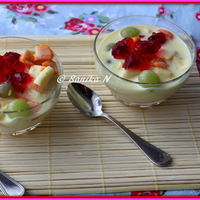 How to make Fruit Custard With Jelly