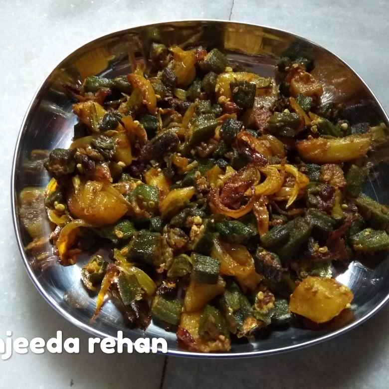 Photo of Bhindi alu bhujiya by Sanjeeda Rehan khan at BetterButter